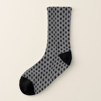 Abstract Geometric Print Gray And Black Socks 1