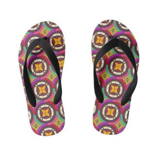 Abstract geometric retro seamless pattern kid's thongs