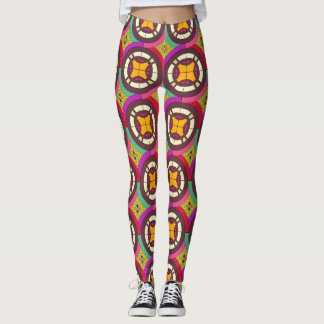 Abstract geometric retro seamless pattern leggings