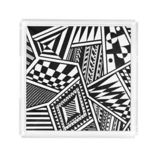 abstract geometric shapes black white pattern hand acrylic tray