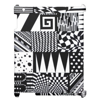 abstract geometric shapes black white pattern hand iPad case