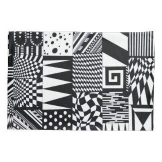 abstract geometric shapes black white pattern hand pillowcase