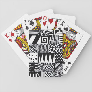 abstract geometric shapes black white pattern hand playing cards