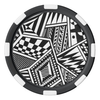 abstract geometric shapes black white pattern hand poker chips