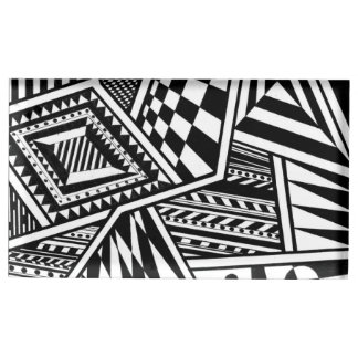 abstract geometric shapes black white pattern hand table number holder