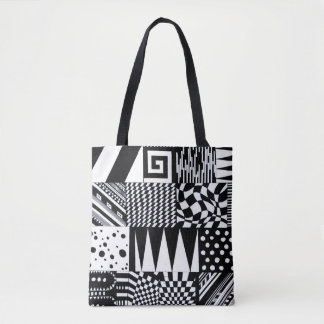 abstract geometric shapes black white pattern hand tote bag