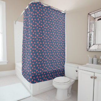 Abstract geometric shapes in salmon and blue shower curtain