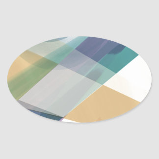 Abstract Geometric Shapes Watercolor Oval Sticker