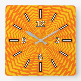 Abstract Geometric Sun-Like Pattern Square Clock