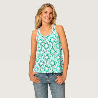 Abstract geometric teal pattern singlet