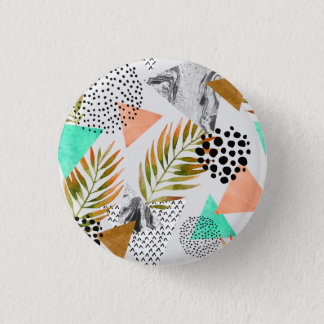 Abstract Geometric Tropical Leaf Pattern 3 Cm Round Badge