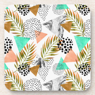 Abstract Geometric Tropical Leaf Pattern Coaster