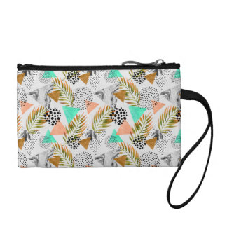 Abstract Geometric Tropical Leaf Pattern Coin Purse