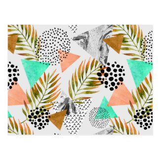 Abstract Geometric Tropical Leaf Pattern Postcard
