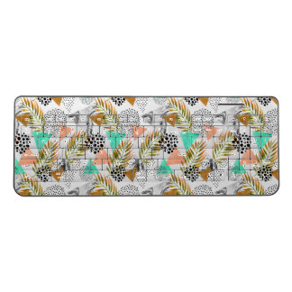 Abstract Geometric Tropical Leaf Pattern Wireless Keyboard