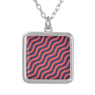 Abstract geometric wave pattern silver plated necklace