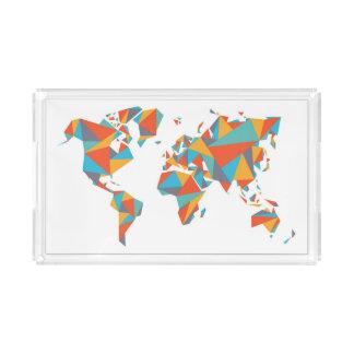 Abstract Geometric World Map Acrylic Tray
