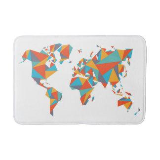 Abstract Geometric World Map Bath Mats