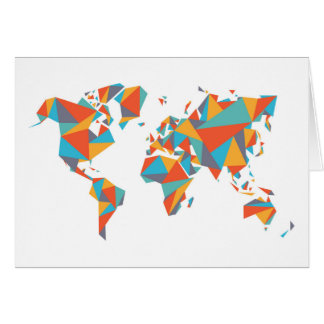 Abstract Geometric World Map Card