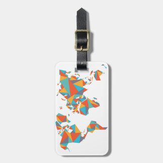 Abstract Geometric World Map Luggage Tag