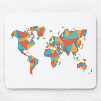 Abstract Geometric World Map Mouse Pad