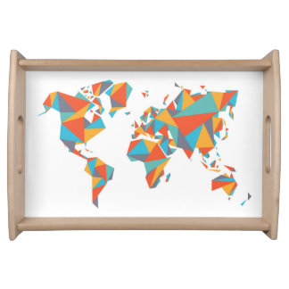 Abstract Geometric World Map Serving Tray