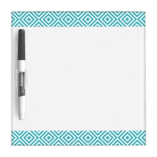 Abstract geometrical squares pattern, aqua white Dry-Erase whiteboard