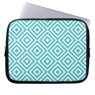 Abstract geometrical squares pattern, aqua white laptop computer sleeves