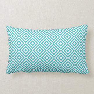 Abstract geometrical squares pattern, aqua white lumbar pillow