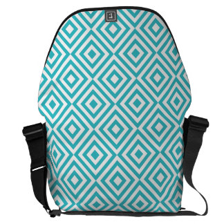 Abstract geometrical squares pattern, aqua white messenger bags