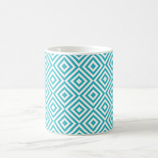 Abstract geometrical squares pattern, aqua white mug
