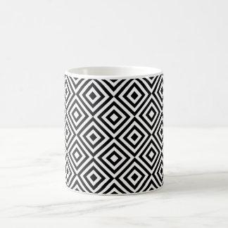 Abstract geometrical squares pattern, black white coffee mug