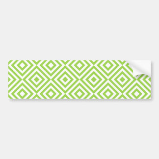 Abstract geometrical squares pattern, lime green bumper sticker