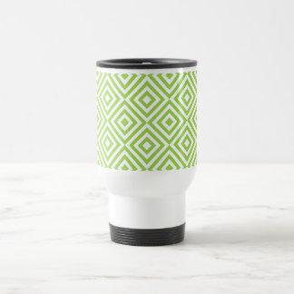 Abstract geometrical squares pattern, lime green coffee mug