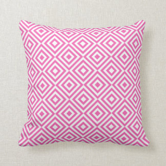 Abstract geometrical squares pattern, pink white cushion