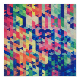 Abstract Geometrical Watercolor Shapes Pattern Poster