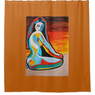ABSTRACT GIRL 2 SHOWER CURTAIN