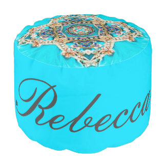 abstract girly Ethnic pattern turquoise bohemian Pouf