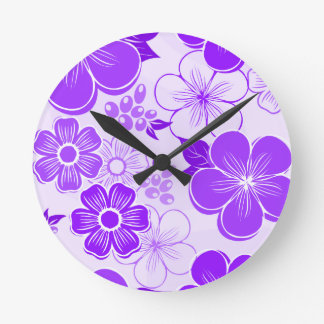 Abstract girly purple flowers round clock