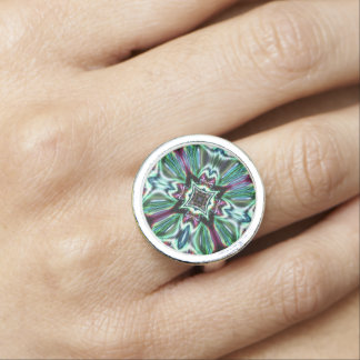 Abstract Glass Jewel Effect  2 Design Ring