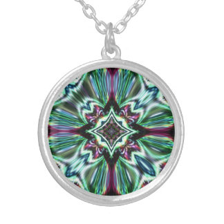 Abstract Glass Jewel Effect  2 Design Silver Plated Necklace