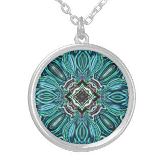 Abstract Glass Jewel Effect  Design Silver Plated Necklace