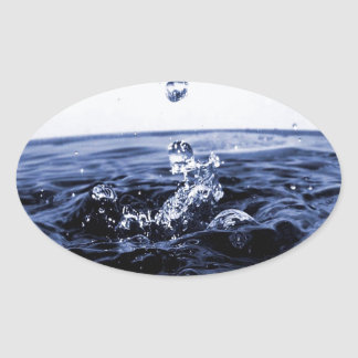 Abstract Glass Water Oval Sticker