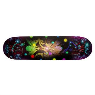 Abstract Glowing Balls Leaves Swirls Skateboard