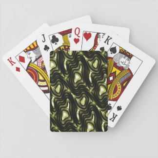 Abstract Glowing Dark Green Alien Pattern Playing Cards