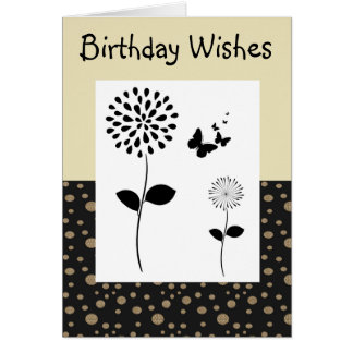 Abstract Gold And Black Dot Floral Greeting Card
