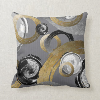 Abstract Gold Colour Ring Black White Swirl Cushion