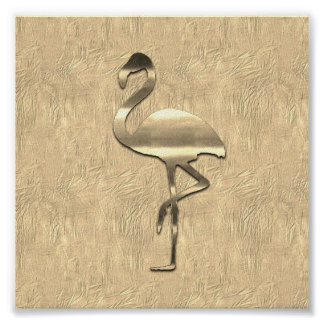 Abstract Gold Flamingo Collage Poster