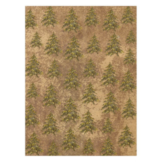 Abstract gold paper & sparkly gold Christmas tree Tablecloth