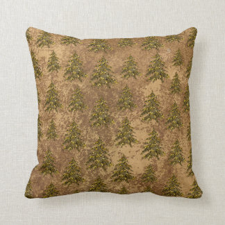 Abstract gold paper & sparkly gold Christmas tree Throw Pillow